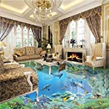 Mznm Large-Scale Murals Hd Underwater World 3D Floor Thickening Waterprooff PVC Ultra-Environmentally Friendly Wear Film-200X140Cm