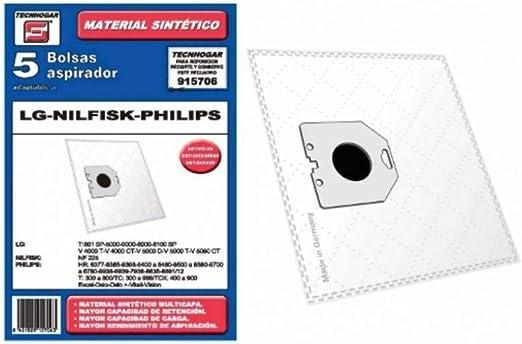 Recamania Bolsa Sintetica Aspirador LG Nilfisk 5 Unidades 915706