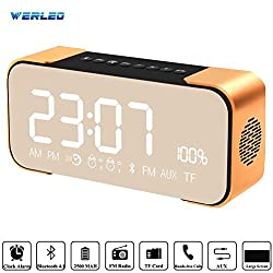 Bluetooth Speakers,Werleo Hi-Fi Portable Wireless Stereo Speaker with Alarm Clock,Build-in Mic,FM Radio,LED Light,Hands-free,Two Subwoofer Enhanced Bass Surround Sound for iPhone Samsung Mac Computer