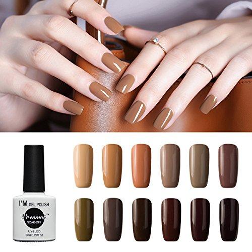 Vrenmol Gel Nail Polish Set 12pcs Brown Soak off UV LED Nail