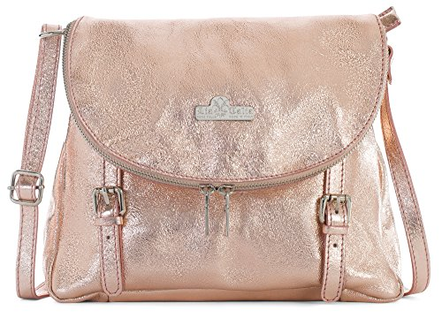 Buckle Tote Bag (Stella by LiaTalia Small/Medium Size Genuine Tuscan Italian Soft Leather Buckle Effect Cross Body Bag - Metallic - Rose Gold)