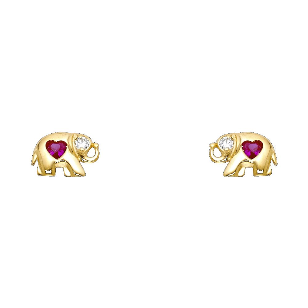 Wellingsale 14K Yellow Gold Polished Elephant Heart Stud With Screw Back