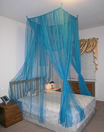 Blue 4 Poster Bed Canopy Mosquito Net Full Queen King