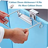 Stainless Steel Trash Bag Holder Rubbish Bag Holder Garbage Bag Holder Bin Bag Holder for Kitchen Cabinets Doors and Cupboards, 1PCS (Silver)