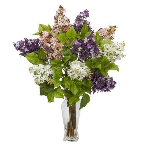 Floral Arrangements Assorted Silk Flowers - Nearly Natural 1256 Lilac Silk Flower Arrangement, Assorted