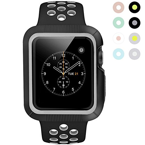 BRG for Apple Watch Case with Band, Shock-proof and t Protective Shatter-resistant Case with Silicone Sport iWatch Band for Apple Watch Series 3/2/1 Nike+ Sport and Edition 38mm S/M Black/Gray