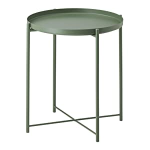 """Side Table Tray Metal End Table Round Foldable Accent Coffee Table for Living Room Bedroom(17.3""""×20.5"""") (M, Dark Green)"""