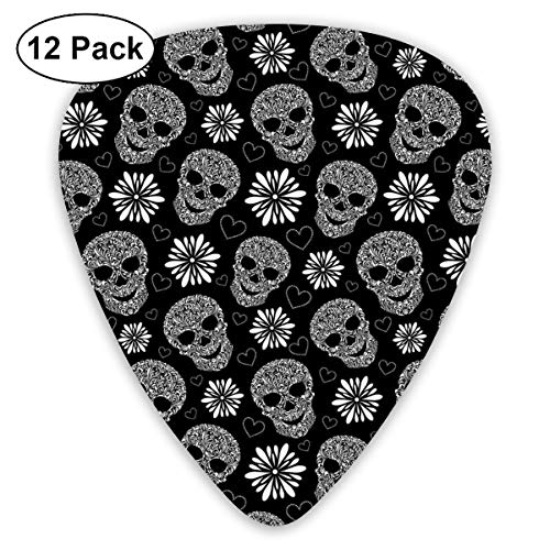 Celluloid Guitar Picks - 12 Pack,Abstract Art Colorful Designs,Monochrome Heart Shapes With Floral Composition Gothic Inspirations Halloween,For Bass Electric & Acoustic Guitars. -