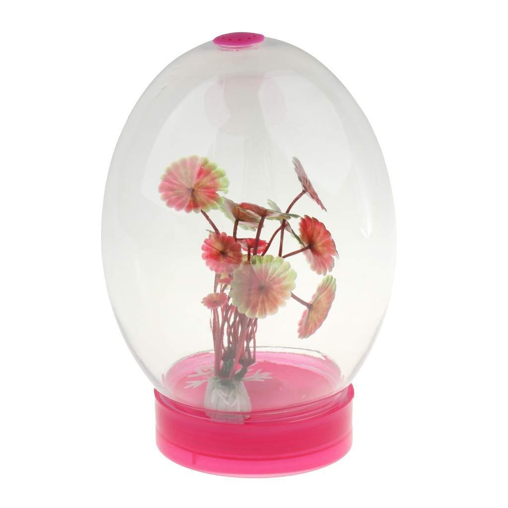 perfk LED Aquarium pour Poisson Combattant ou Poisson Rouge avec Lumière Changement Décor à La Maison Bureau USB - Rose Rouge