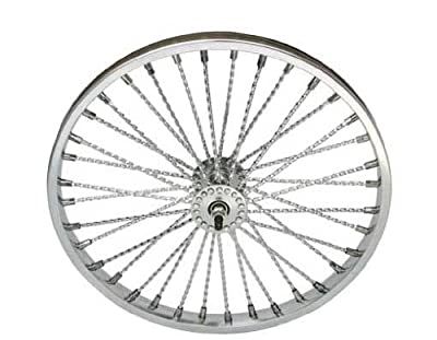 """20"""" 36 Twisted Spoke Front Wheel Chrome. Bicycle wheel, bike wheel, Lowrider bike wheel, lowrider bicycle wheel, bmx, free style, chopper, cuiser, bike part, bicycle part"""