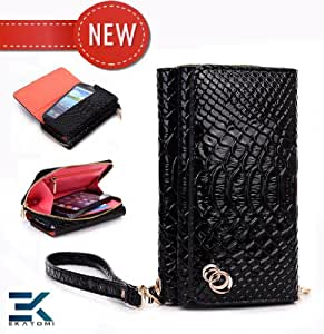 PU Leather Women's Wallet Wristlet Clutch Universal Phone Bag compatible with HTC Pure Case - BLACK CROC PATTERN