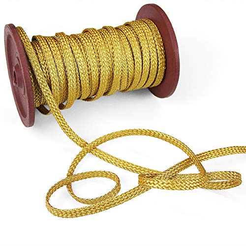5 Yards of LULLY Plaited Metallic Flat Cord (for Loops and Curves), Yellow Gold (Trim Flat Braid)