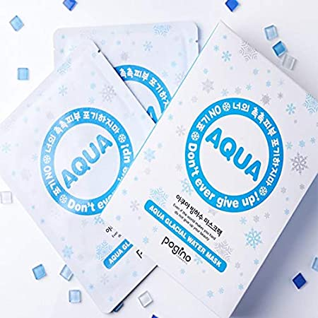 Amazon.com : [Pogino] Korea face mask/Aqua Glacial Water Mask sheet / (30ml pack of 10) : Beauty