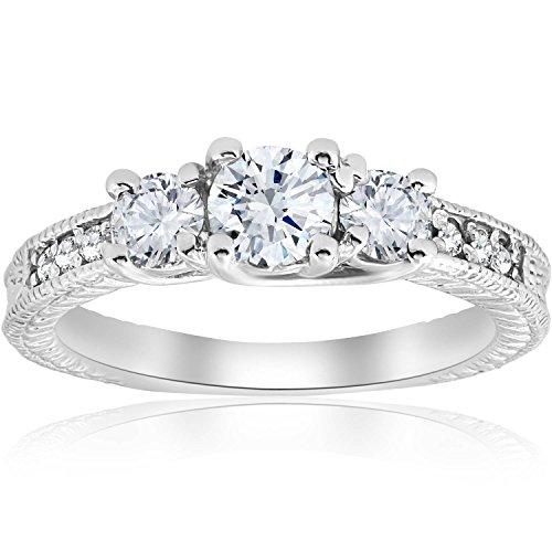 1 cttw Vintage Diamond Three Stone Engagement Ring 14K White Gold 3 Diamonds Engagement Ring