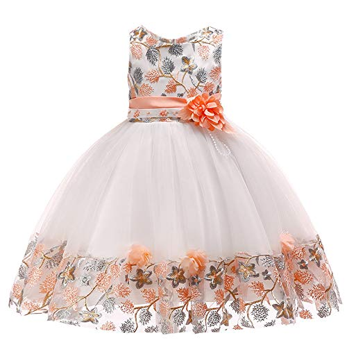 Children's Floral Baby Girl Lace Bridesmaid Pageant Gown Birthday Party Wedding Princess Tutu Dress Outfits Skirt Clothes (Orange, 5-6 -