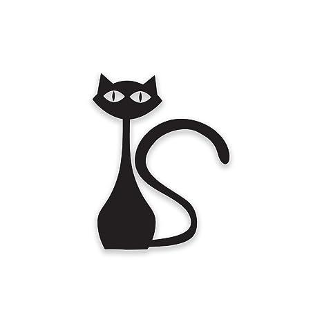 Gato de pie frigorífico Sticker Funny Cat Negro Vinilo Autoadhesivo – A4 tamaño – Arte decoración