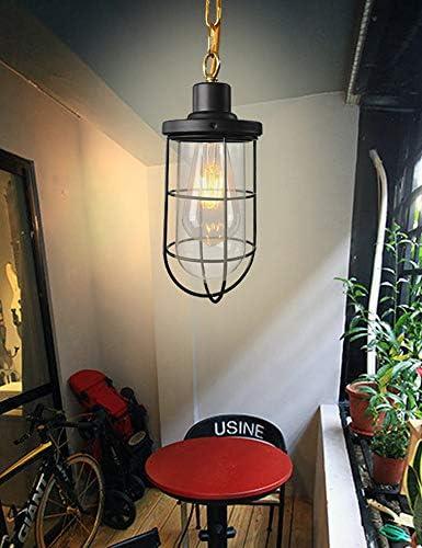 Retro Deckenpendelleuchte Glas Lampenschirm Metallkäfig Verstellbare Gold Hängelampe E27 Sockel Für Schlafzimmer Küche Wohnzimmer Esszimmer Schwarz