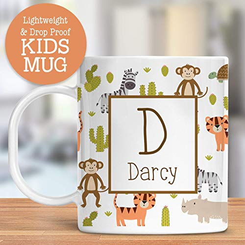 Kids Personalized Mug Jungle Animals Customize with Name and Initial Lightweight and Drop Proof | Dishwasher Safe | Child Toddler Cup BPA Free by Foxy Mug