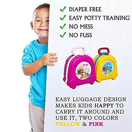 Rose Portable Travel Potty for Kids Boys Girls Camping Car Travel,BeCute Potty for Boys Girls,Kids Potty Training Strategy,Perfect Mommys Helper for Potty Training