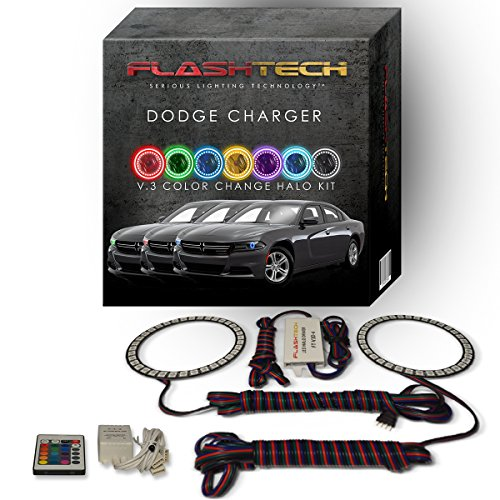 Flashtech Bluetooth RGB LED Halo Ring Headlight Kit for Dodge Charger 15-16