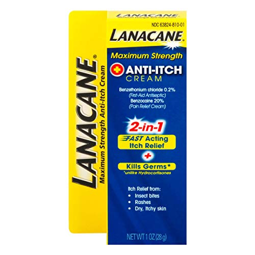 Lanacane Maximum Strength Anti-Itch Cream, 1 oz, 2in1 Fast Acting Itch Relief and Kills Germs (Pack of 2)