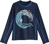 Coolibar UPF 50+ Kid's Sandshark Long Sleeve Surf Shirt - Sun Protective (Medium- Navy Wave)