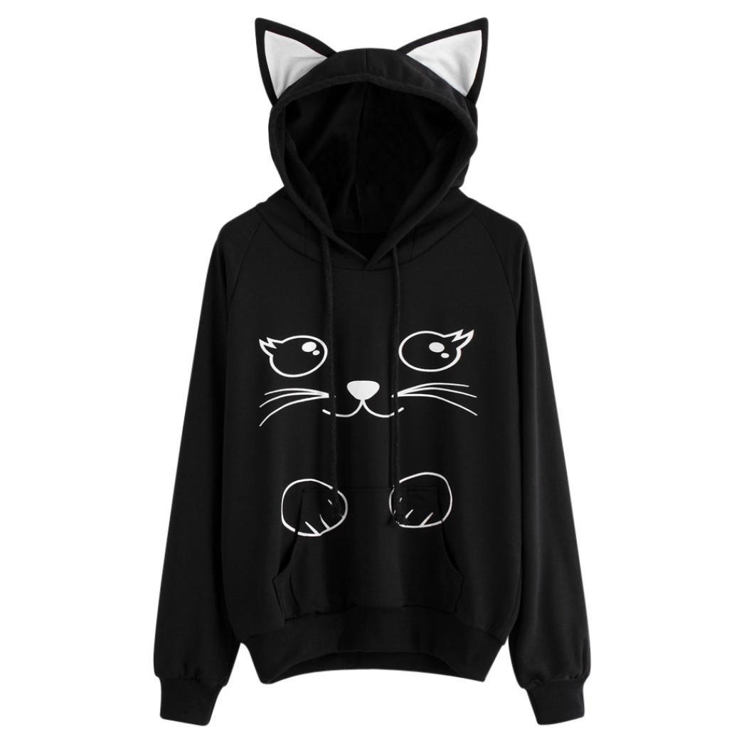AMA(TM) Women Long Sleeve Hoodie Sweatshirt Hooded Pullover Tops Blouse with Cat Hood (S, Black 1)