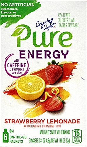 Crystal Light Pure Energy Strawberry Lemonade On The Go Drink Mix, 6-Packet Box (4 Box Pack) (Crystal Lite Strawberry Lemonade)