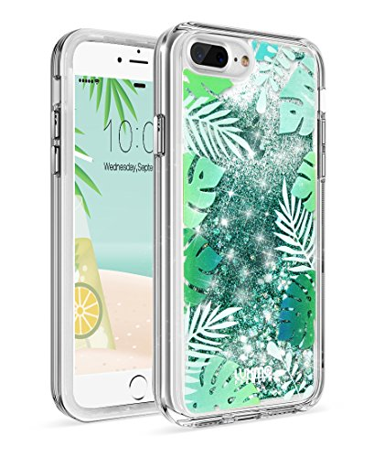 LUXMO PREMIUM Waterfall Case for iPhone 7 Plus/ 8 Plus,Quicksand Sparkling Durable Anti-Scratch Shockproof Protection Bumper Cover Case 5.5 inch for iPhone 8/7/6S/6 Plus- Tropical Summer