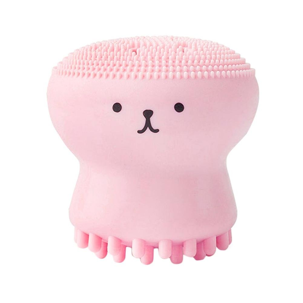 Jellyfish Shaped Pink Silicone Octopus Face Cleanser Powder Puff Brush Face Cleaner Brush Facial Brush Exfoliating Silicone Facial Scrubber Octopus face brush tebisi