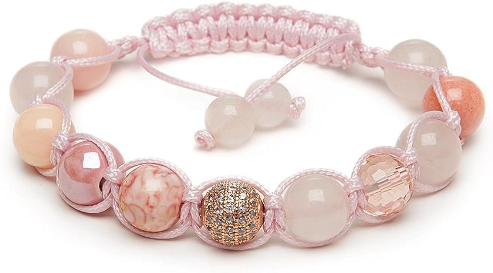 Zebredellas A24 - Pulsera de fertilidad de cuarzo rosa con cuentas de cristal transparente Shamballa, macramé, hecha a mano en Gran Bretaña, zodiaco, Aries, Tauro, Géminis, Libra Piscis