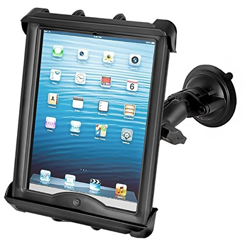 RAM MOUNTS (RAM-B-166-TAB8U Twist Lock Suction Cup Mount with Tab-Tite Universal Clamping Cradle for Large Tablets with Heavy Duty ()