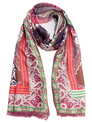 Elizabetta Women's Paisley Italian Pink & Green Scarf Wrap-Silk & Modal by Elizabetta