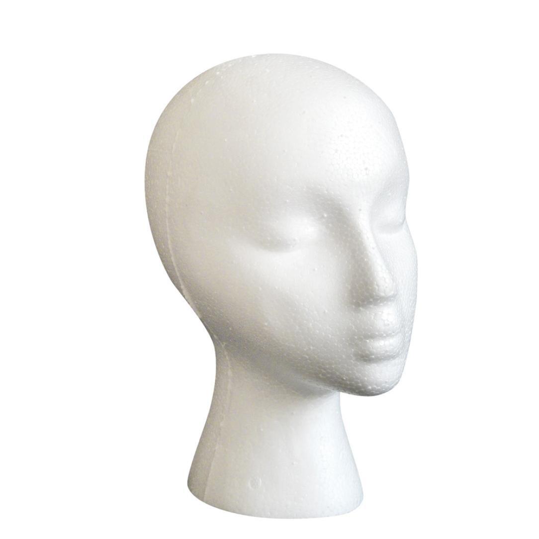 Tête de modèle masculin, Moonuy Mâle Styrofoam Mannequin Head Model Foam Wig Hair Tête de Mousse Artistique Perruque de Cheveux Affichage Modèle de Perruque Lunettes (Blanc)