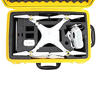 DJI Phantom 3 Hard Case. Military Spec., Waterproof and Airtight, Carrying Case with Foam for DJI Quadcopter and Gopro Accessories (Black/Red/Yellow)