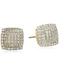 10k Yellow Gold Diamond Cushion Stud Earrings (1/2 cttw, I-J Color, I2-I3 Clarity)