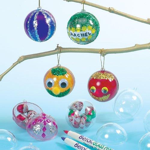 Transparente Weihnachtskugeln für Kinder zum Verzieren und Aufhängen (12 Stück)