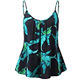 Deals! Women Tank Tops Summer Flare Floral Print Adjustable Strappy Blouse Tops Camis Tunic Shirt for Teen Girls Green