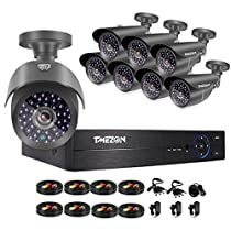 TMEZON 8 Channel 1080P HDMI AHD DVR HVR NVR 3 in 1 Security System including 8x 2000TVL 2.0MP Waterproof Bullet Surveillance Camera w/ 42 IR Leds Night Vision Up to 130ft Remote View