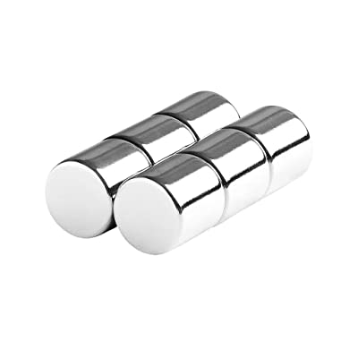 "tElement 6pcs Magnetic Stick Adhesive Holder Lifter Fastener 1/2"" 12mm Round Cylinder Magnets : Garden & Outdoor"