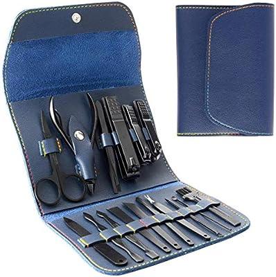 Kit de manicura, acero inoxidable Kit de pedicura profesional Tijeras de uñas Kit de viaje de herramientas portátiles de manicura/pedicura de uñas para hombres y mujeres con estuche de cuero PU (Azul):