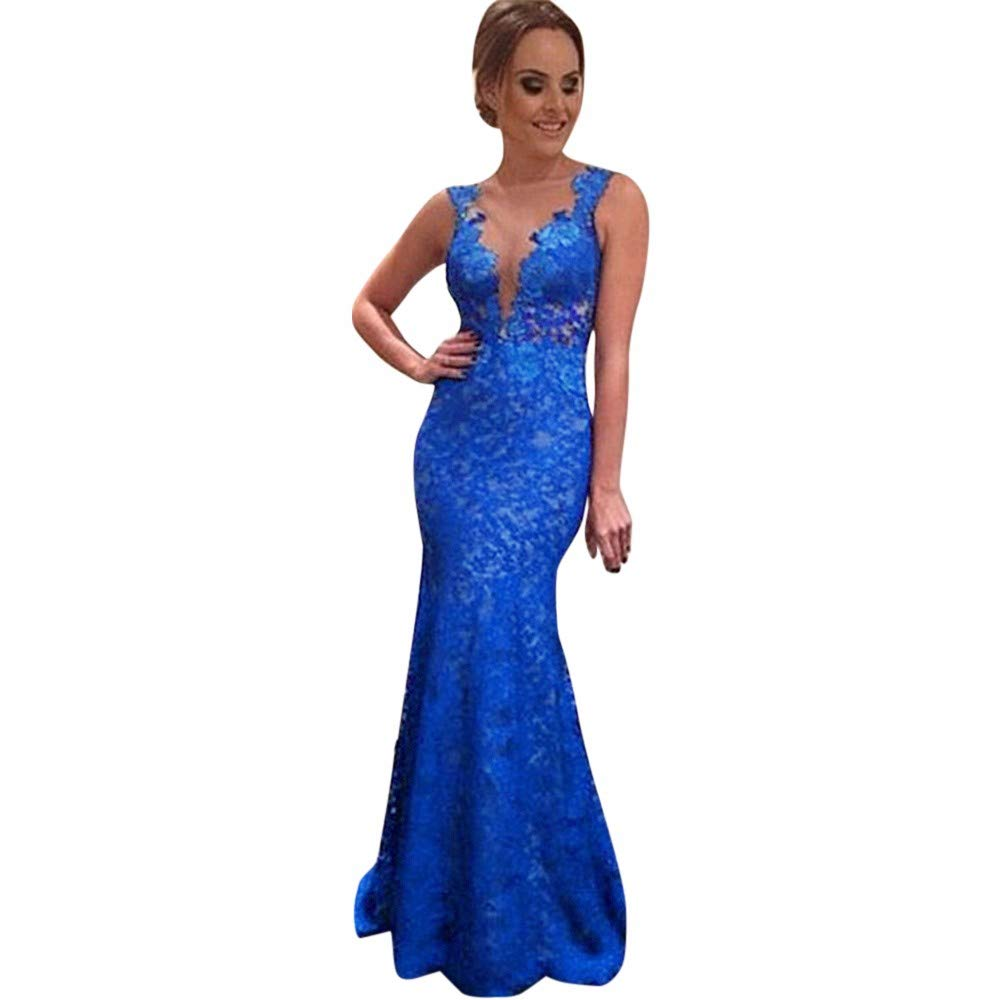 8308ff467cb1f Amazon.com: Women Sexy Fish Tail Long Dress Lace Evening Party Prom ...