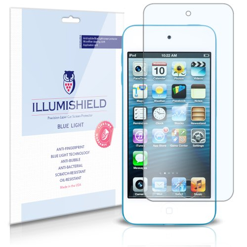 Apple iPod Touch 5 Screen Protector (5th Gen,16GB,32GB,64GB)[2-Pack], iLLumiShield - (HD) Blue Light UV Filter / Premium Clear Film / Anti-Fingerprint / Anti-Bubble Shield