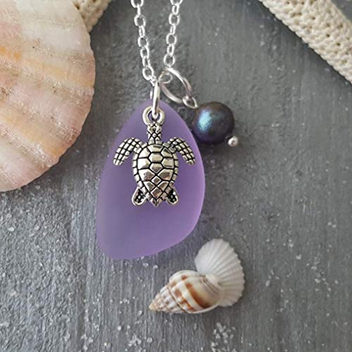 Handmade in Hawaii,Magical Color Changing purple sea glass necklace,fresh water pearl, turtle charm, sterling silver chain, FREE gift wrap, FREE gift message,February Birthstone
