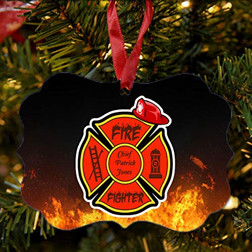BRGiftShop Personalized Custom Name Proud Firefighter Fire Fireman Retired Christmas Tree Ornament