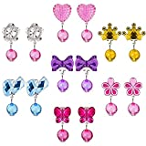 7 Pairs Clip-on Earrings Girls, Kicpot Princess Party Favor Jewelry Set with Pink Heart Shaped Box
