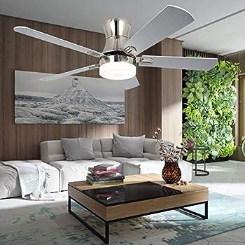 Luxurefan Indoor Flush Mount Ceiling Fan With Led Light