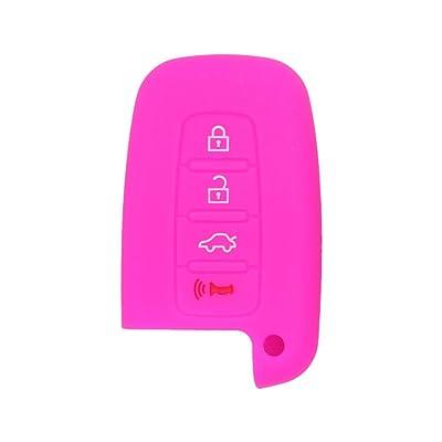 SEGADEN Silicone Cover Protector Case Skin Jacket fit for HYUNDAI KIA 4 Button Smart Remote Key Fob CV9104 Rose: Automotive
