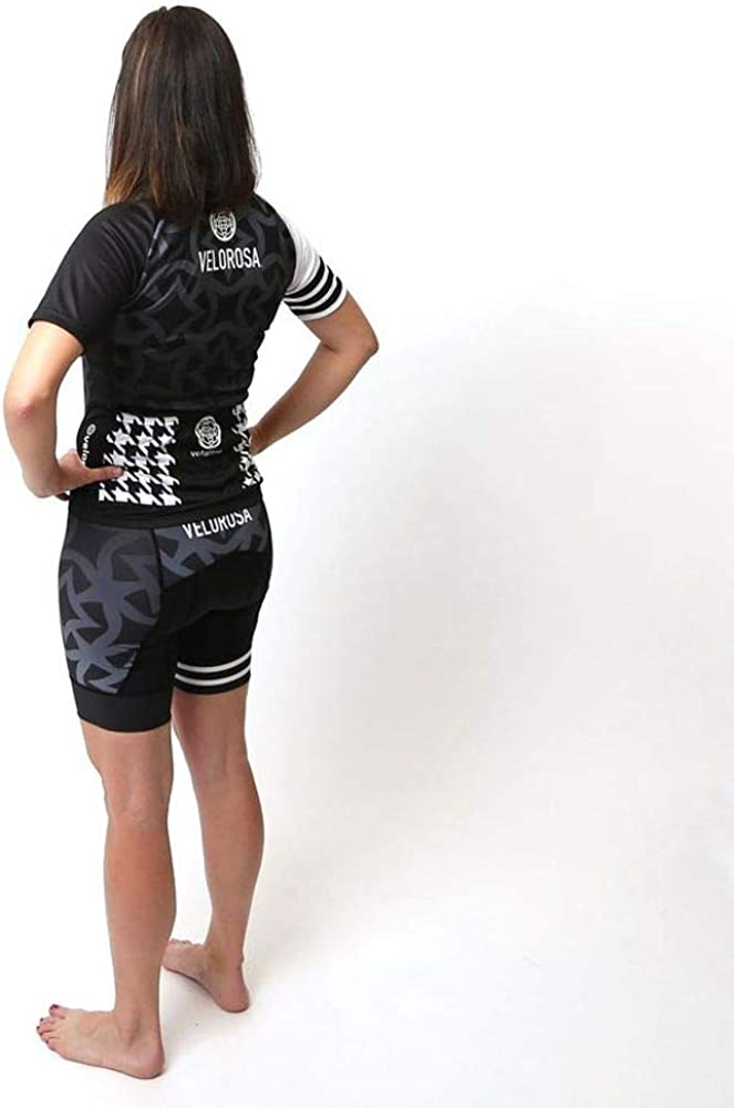 Velorosa Women/'s Padded Cycling Shorts Ladies Black White Print Biking Bottom Chamois Bike Short