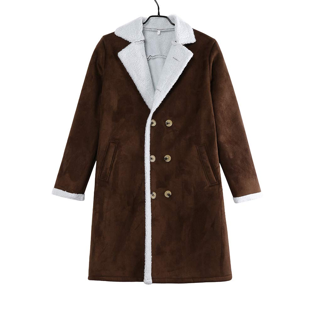 2019 Manteau Veste Homme,SANFASHION Manteau Long Laine Polaire Chaud Boutons Fleece Hiver en Peau de Mouton Blouson Chaud Outwear Grande Taille Coat Jacket Bonne Qualite B- Marron
